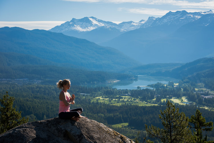 Morning yoga in the mountain during Wanderlust Whistler. MIKE CRANE PHOTO