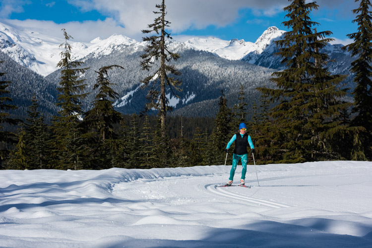 Cross country skiing in the Callaghan Valley