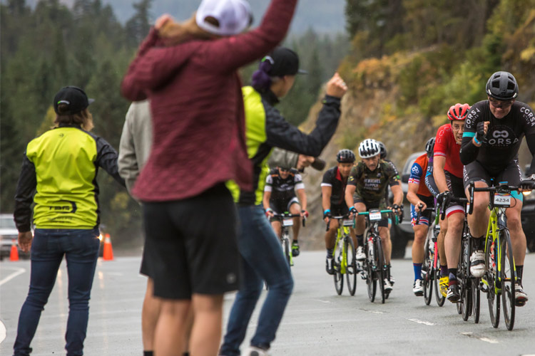 Spectators cheer RBC Granfondo Participants Whistler