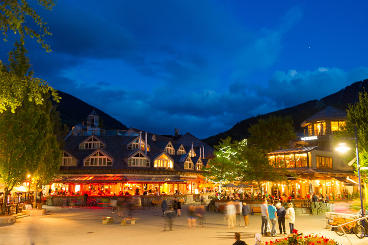 Whistler Village Square on a Summer Evening