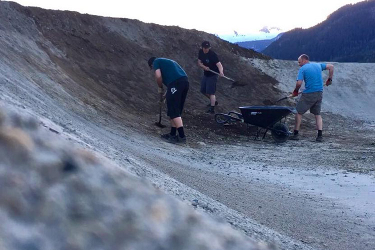 Volunteers hard at work on the Whistler BMX track.  PHOTO SUPPLIED BY WBMX