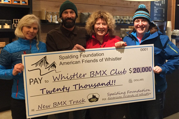 Donation to the Whistler BMX Club from the Spalding Family Foundation. PHOTO SUPPLIED BY WBMX