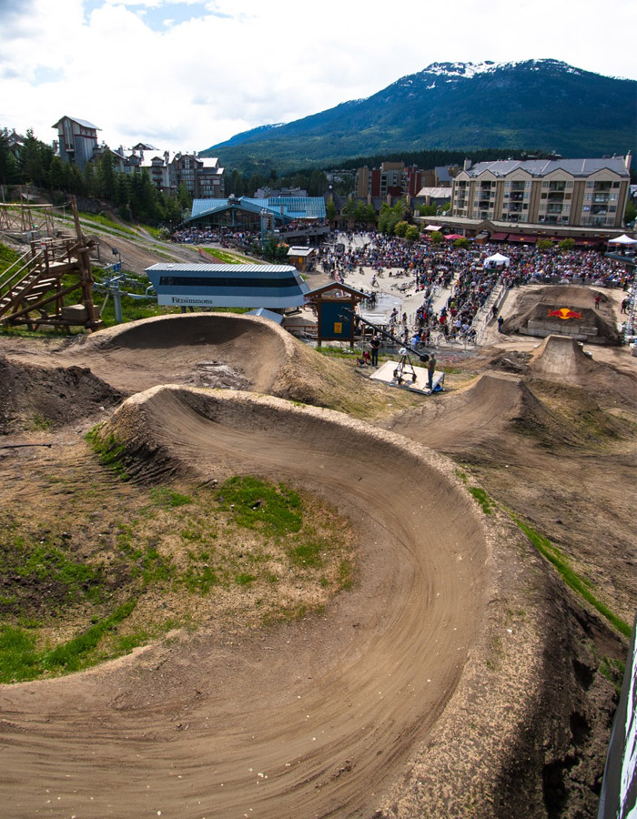 One of the many manicured berms and gaps for the Red Bull Elevation course. PHOTO BRIAN FINESTONE
