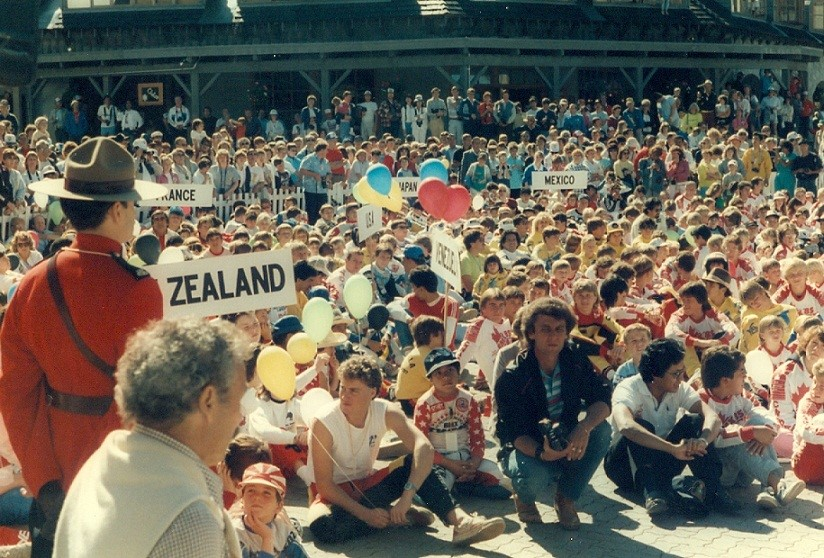 Opening ceremony during the 1985 BMX World Championships in Whistler. PHOTO COURTESY USA BMX