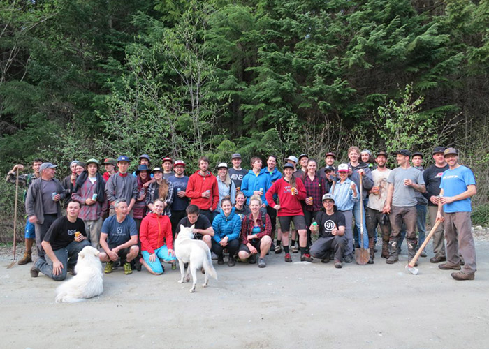 Trail maintenance crew helping out WORCA