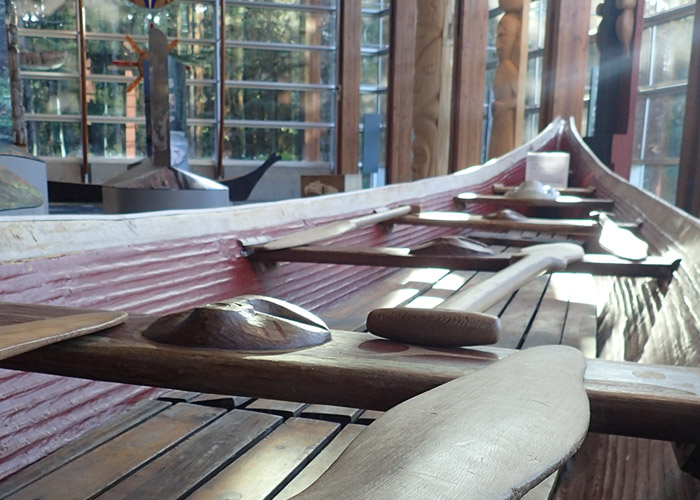 A hand-carved cedar canoe at Squamish Lil'wat Cultural Centre