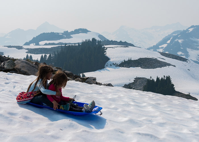 Tobogganing in August.