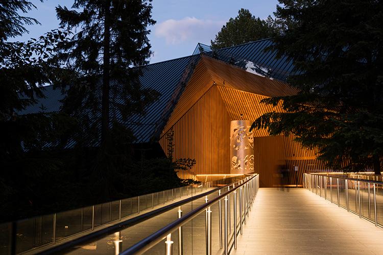 Audain Art Museum exterior at night