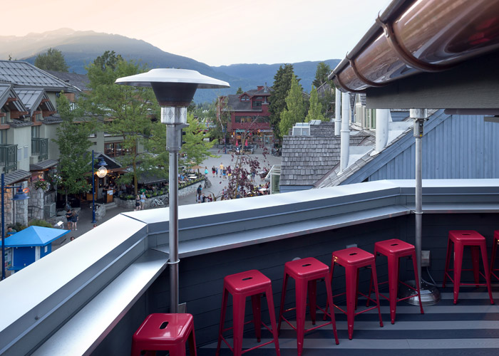The rooftop patio at the Pangea Pad Hotel in Whistler.