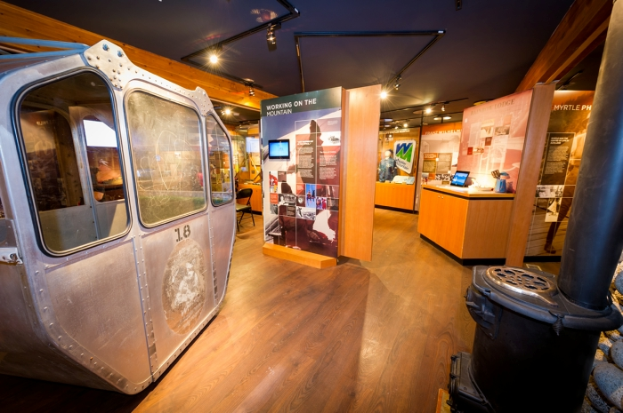 Interior of Whistler Museum including antique ski gondola.