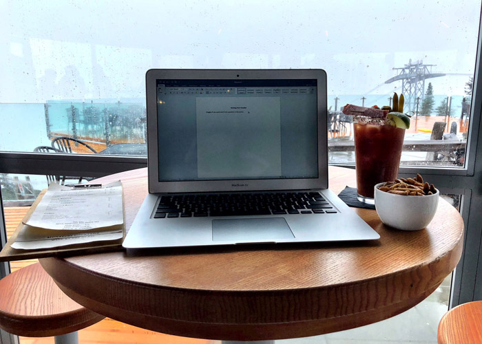 Working from the Umbrella bar