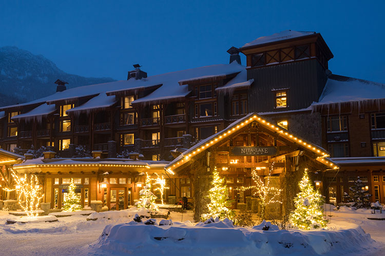 Nita Lake Lodge covered in snow in Whistler.