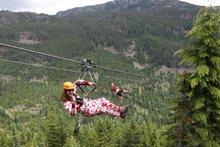 Superfly ziplines in Whistler in fancy dress for Halloween.