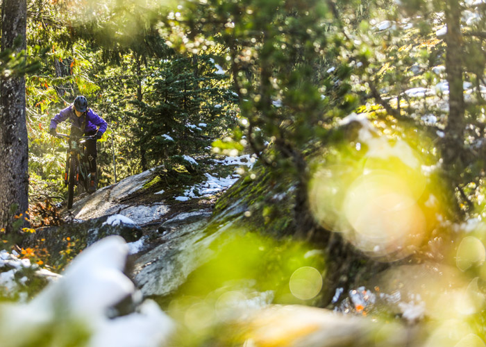 A rider tackles some of the technical ups on Whistler's Westside trails.