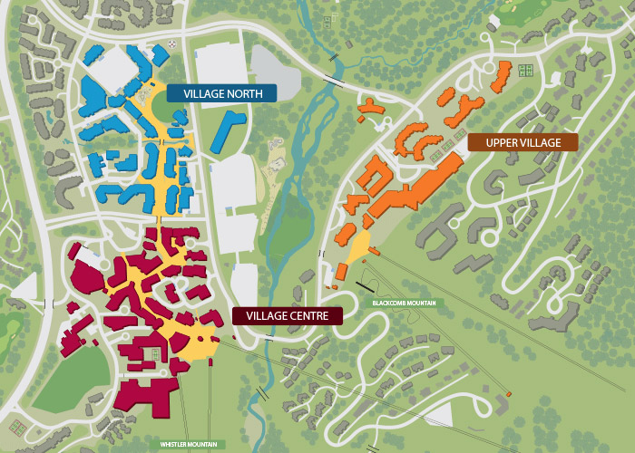 A map of Whistler Village showing the area that Eldon Beck designed.