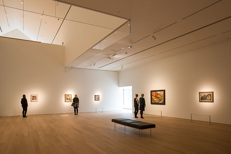 Interior shot of a gallery room in the Audain Museum