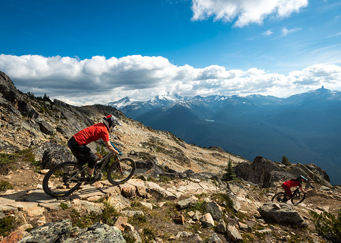 A rider tackles the Top of the World trail in the Whistler Bike Park.