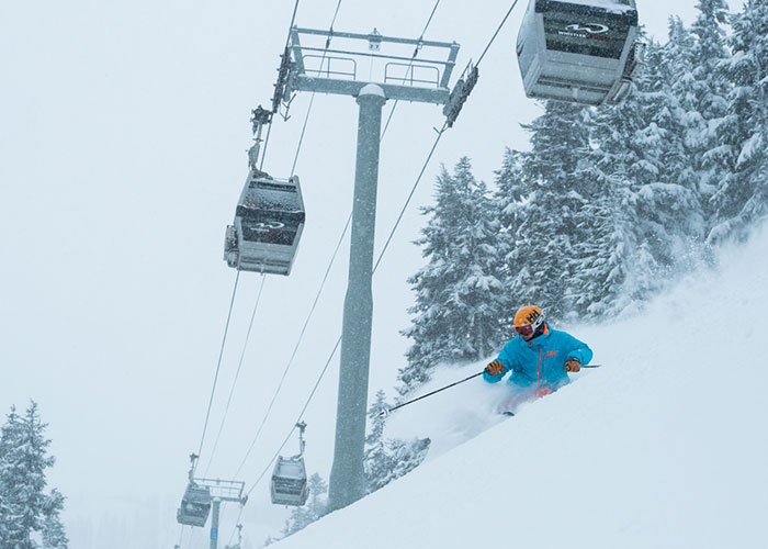 A stormy day on the ski hill as a skier tackles the fresh powder.
