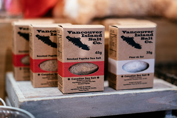 Packs of salt from Vancouver Island Salt Co.