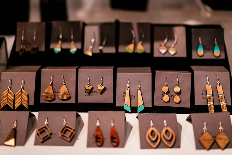 A selection of wooden earrings.