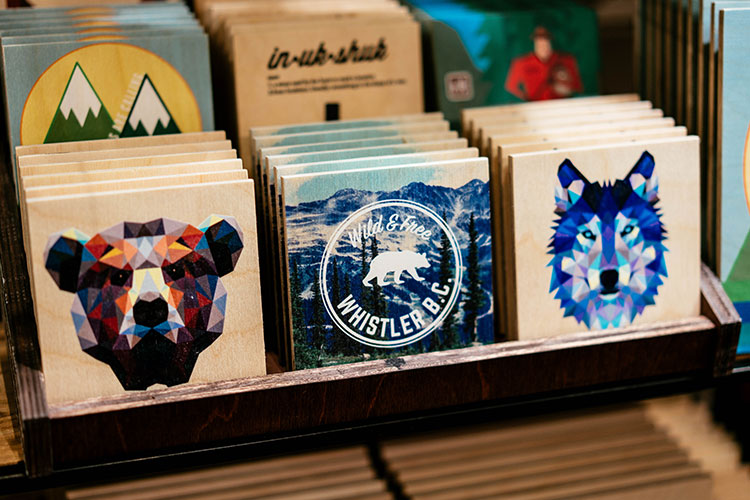 Bears and wolves feature on wooden coasters.