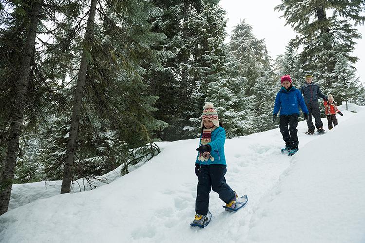 Family fun snowshoeing in Whistler