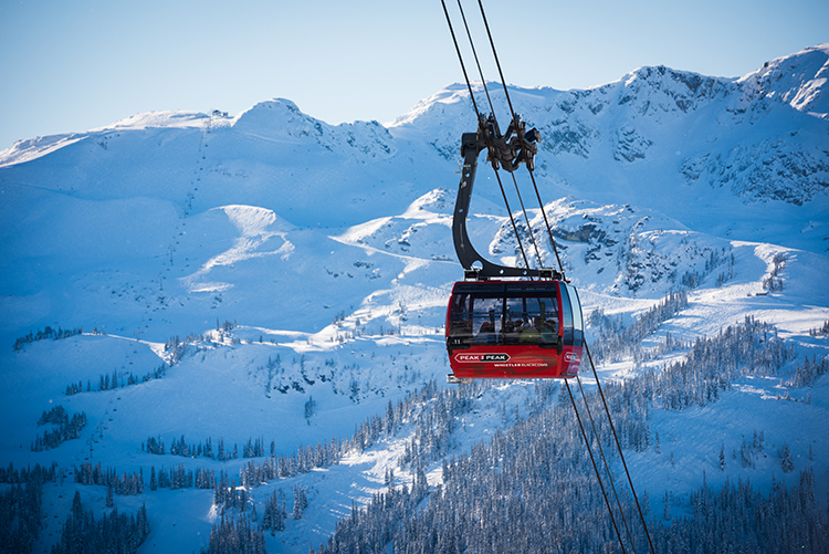 Sighting-seeing on the PEAK 2 PEAK Gondola with beautiful mountain scenery