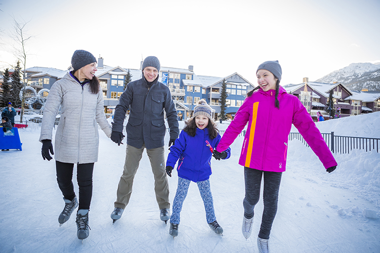 Family Ice Skating in Whistler