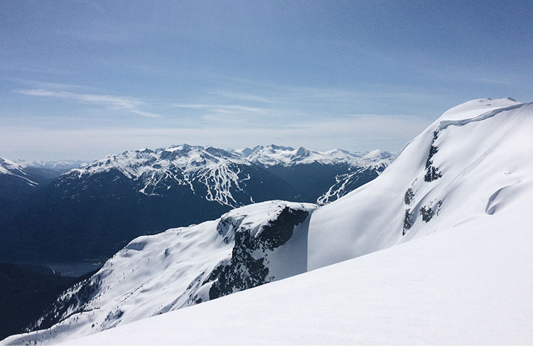 The view from Rainbow Mountain of Whistler Blackcomb.