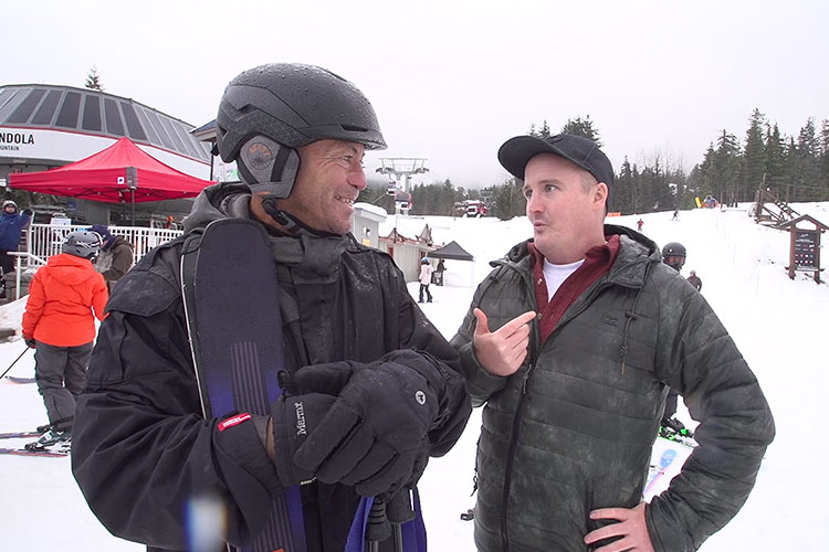 Brandon talks to an Aussie skier about why he came to Whistler.