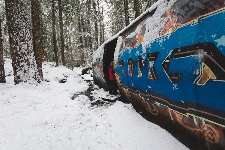 Snowshoeing Train Wreck Trail in Whistler