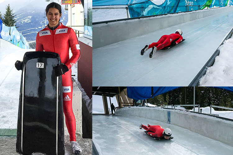 Skeleton athlete, Tirza Lara poses for the camera along with shots of her sliding down the track in Whistler.
