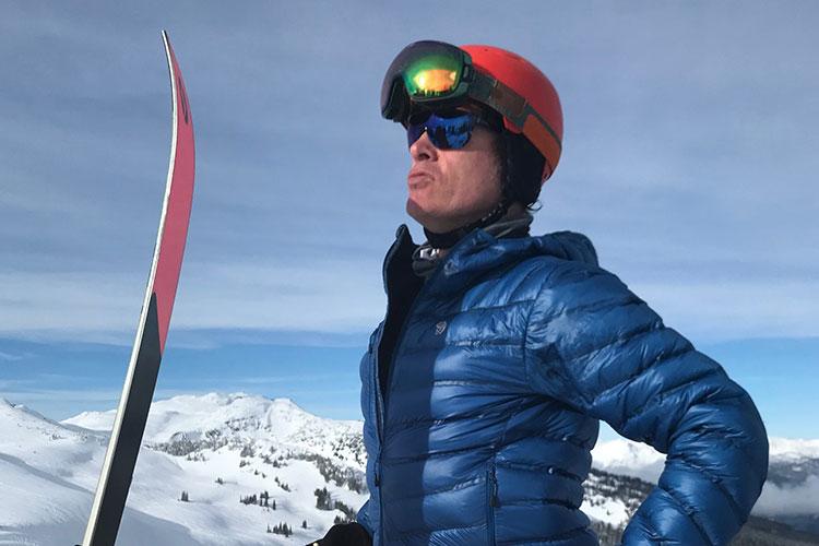 A skier pouts into the sunshine on Whistler Mountain.