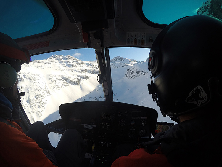 Taking in the Whistler mountain views from the helicopter