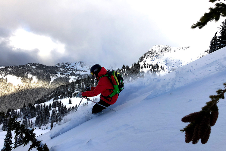 Heli-ski touring in Coast Mountain powder conditions