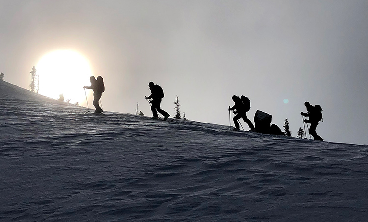 Ski tourers on the uphill climb in Whistler