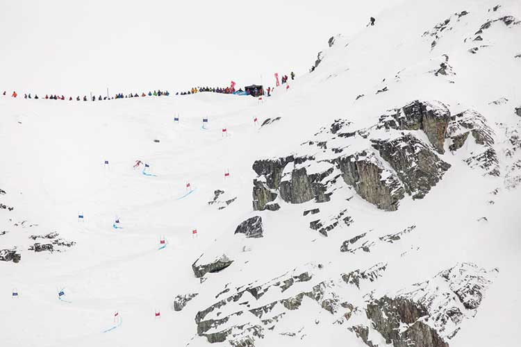 the steep face of the couloir extreme race