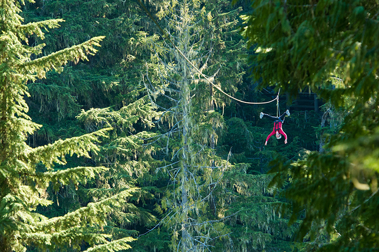 Fall ziplining upside-down in Whistler