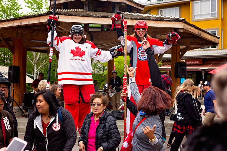 Hockey players on stilts for May long weekend in Whistler