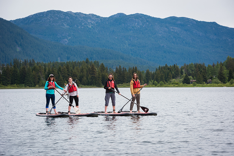 Paddleboarders on Alta Lake in Whistler