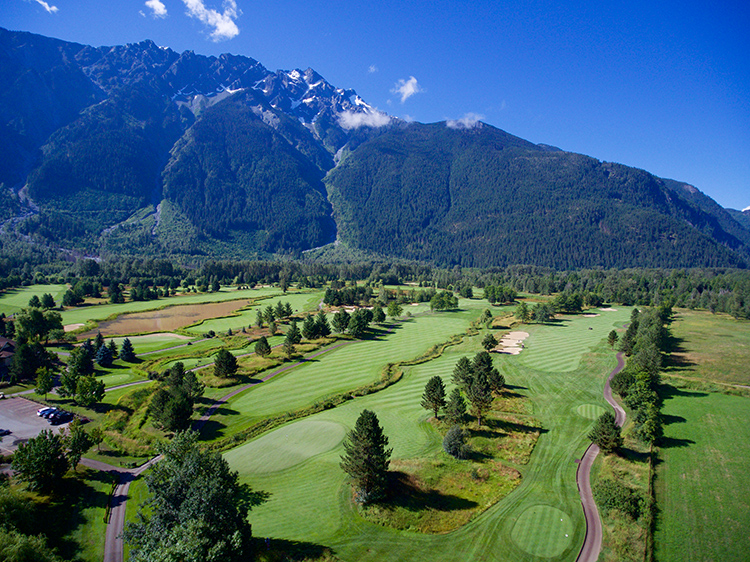 The Big Sky Golf Club course under Mount Currie
