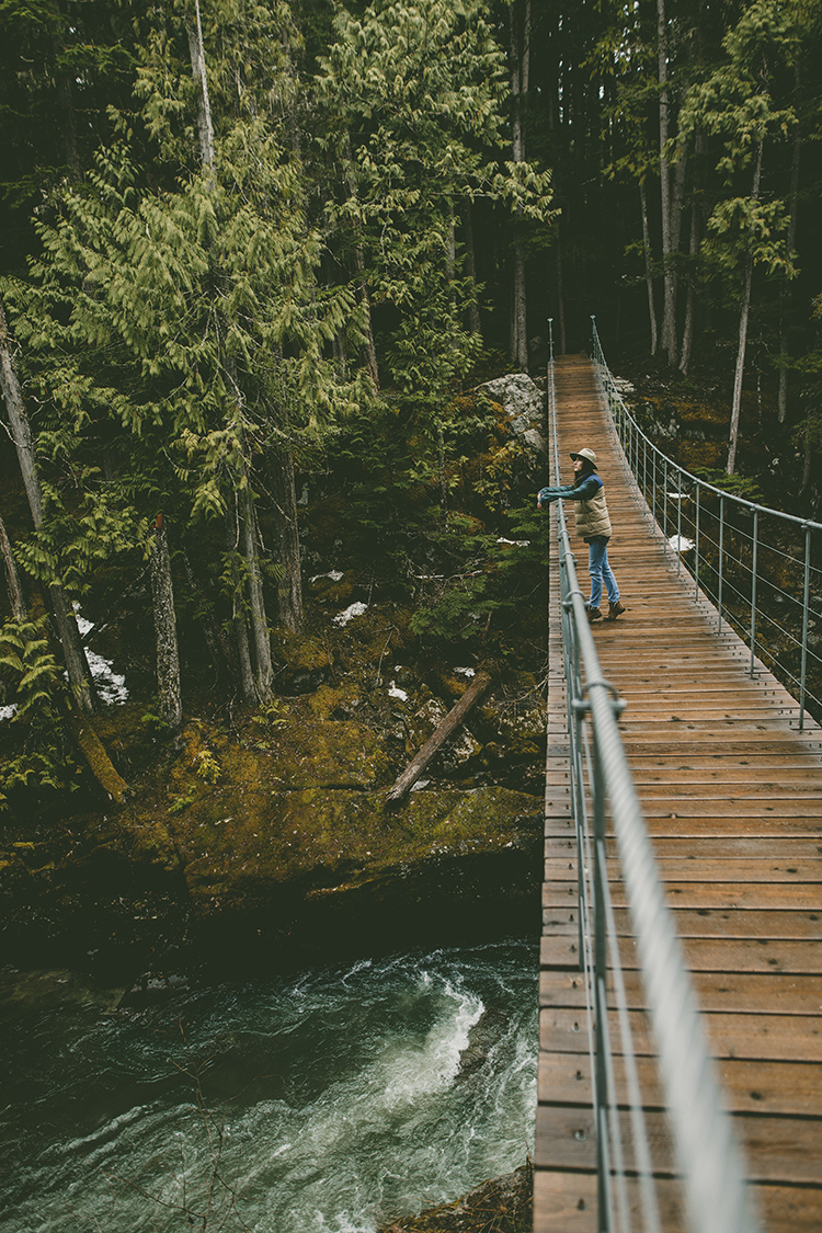 Woman on suspension bridge in Whistler