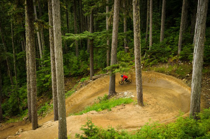 Mountain biker on a berm in the Whistler Bike Park