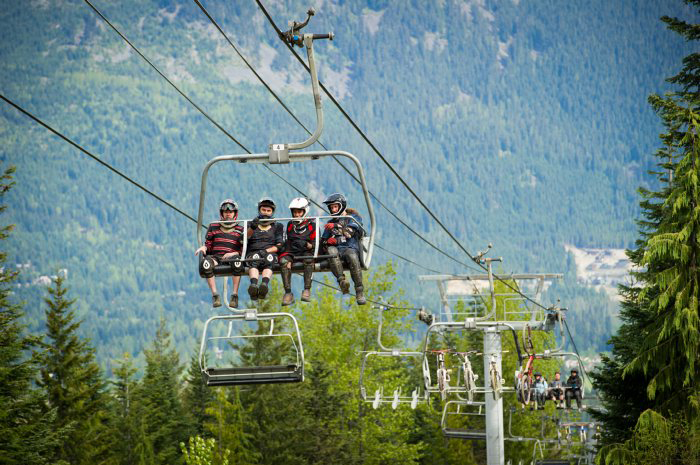 Mountain bikers on a chairlift