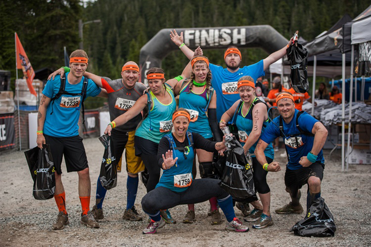 A group celebrating at Tough Mudder Whistler