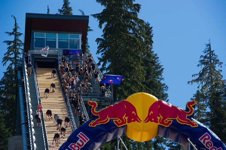 Runners going up the ski ramp at Redbull 400