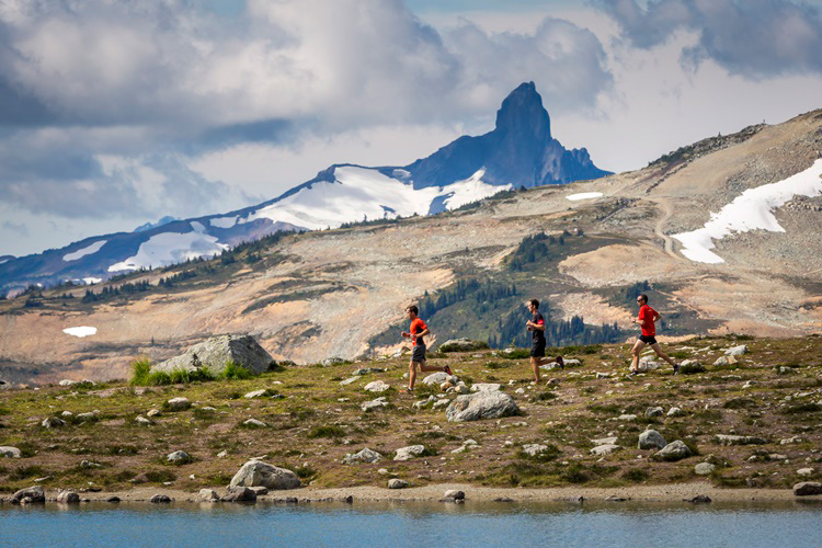 Runners going past Black Tusk in Whistler