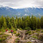 Mountain bikers riding towards Whistler and Blackcomb Mountains