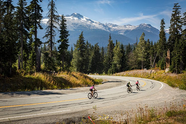 Road cyclists training in Whistler