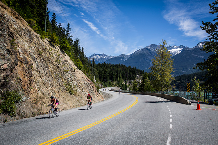 Cyclists competing in Ironman Whistler